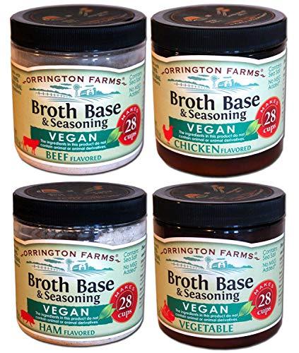 Orrington Farms - Vegan Broth Seasoning Combo - Vegan Chicken, Vegan Beef, Vegan Ham, Vegan Vegetable, 6 oz. jars (4 Pack)