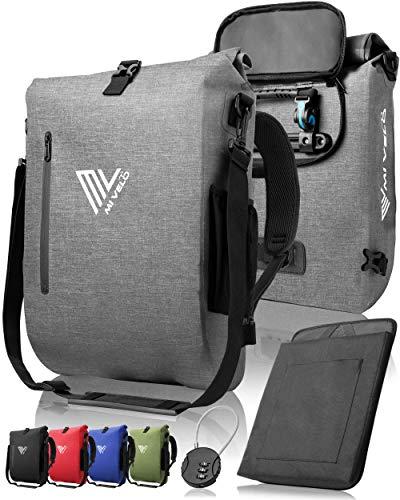 MIVELO - 3 in 1 Fahrradtasche - Rucksack - Schultertasche wasserdicht, inkl. Laptopfach, für Fahrrad Gepäckträger Aller Art, grau