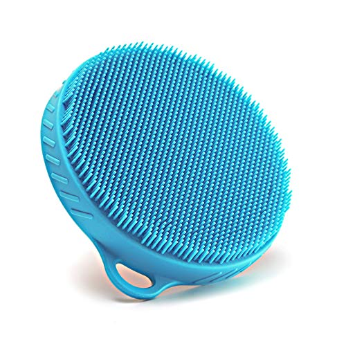 Soft Silicone Body Scrubber Wooden Back Brush Natural Bristles Exfoliating Massage Skin Cleansing Tool for Sensitive and All Kinds of Skin (Blue)