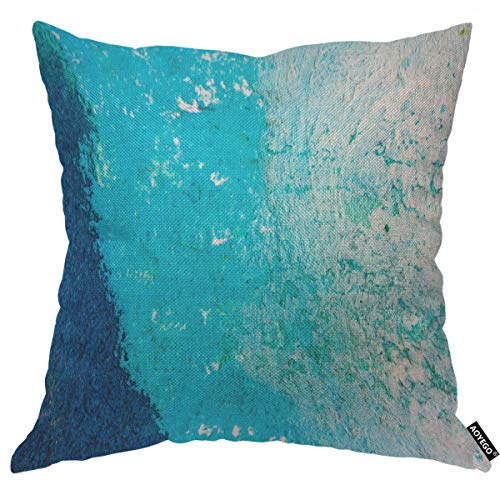 AOYEGO Blue Abstract Watercolor Macro Texture Throw Pillow Cover Aquarelle Ocean Doodle Liquid Water Grain Graphic Pillow Case 18x18 Inch Decorative Men Women Boy Girl Room Cushion Cover for Home Bed