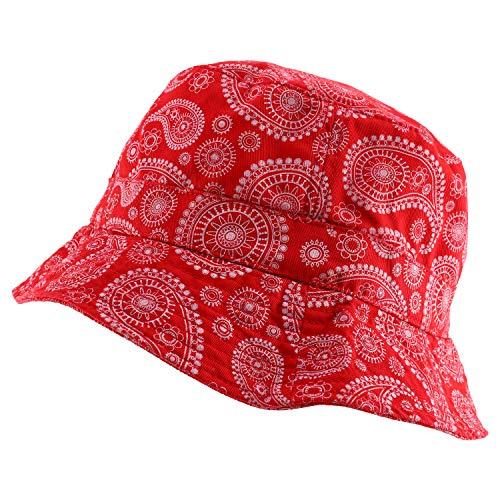 Paisley Bandana Print 100% Cotton Bucket Hat - RED - L-XL