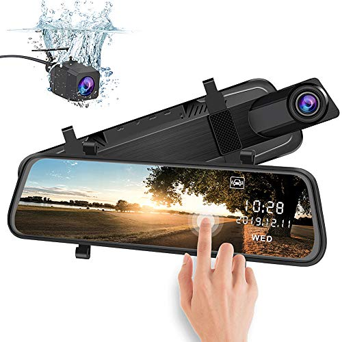 AWESAFE 1080P Rückspiegel Dashcam mit Dual Kamera 170 Grad Weitwinkelobjektiv, 10 Zoll HD Bildschirm mit WDR Nachtsicht Loop-Aufnahme G-Sensor Parkmodus Bewegungserkennung