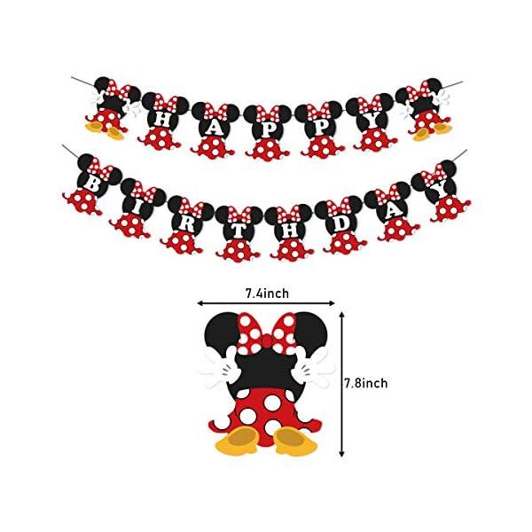 JOYMEMO Fiesta de cumpleaños de Minnie Mouse Rojo y Negro para Fiesta de cumpleaños Decoraciones de Bienvenida al bebé… 5