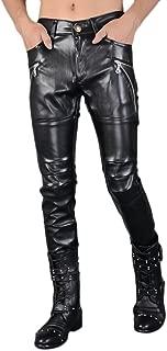 Idopy Men`s Rock Punk Hip Hop Faux Leather Motocycle Pants