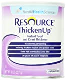 Resource ThickenUp Instant Food & Drink Thickener Powder, Unflavored, 8 Ounce Canister (Pack of 12)