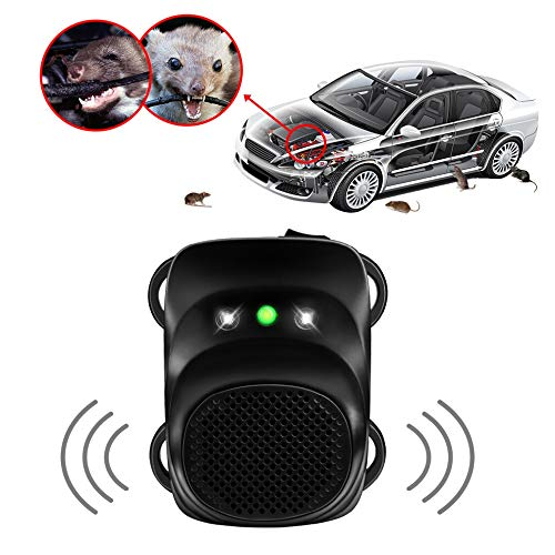Price comparison product image Loraffe Under Hood Rodent Ultrasonic Rat Repellent Mice Deterrent with Ultrasound and LED Flashlights,  for 12V 24V Vehicle Auto Garage Pest Control,  Keep Animal from Chewing Car Wir