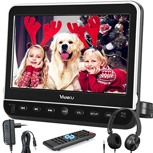 "Vanku 10.1"" Car DVD Player with Headrest Mount, Wall Charger, Headphone, HDMI, Support 1080P Video, AV in Out, Region Free, USB SD, Last Memory"