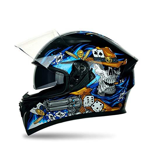 Unisex Adult Compact Lightweight Full Face Motorcycle Street Bike Helmet, Double Visor DOT Certification, Multiple Sizes, Effective Head Protection,Blue Skull,L