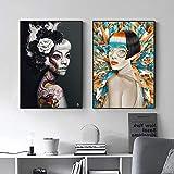 Pintura sobre lienzo Arte de la pared Carteles e impresiones nórdicos Imágenes modernas multicolores para la decoración del hogar de la sala de estar-40x60cmx2 Sin marco