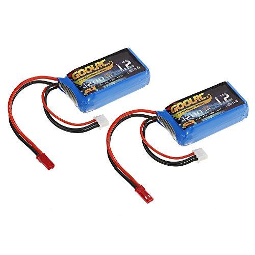GoolRC 2pcs 7.4V 1200mAh 25C JST Plug LiPo Batteria per WLtoys A949 A959 A969 A979 K929 RC Car V353 Quadcopter