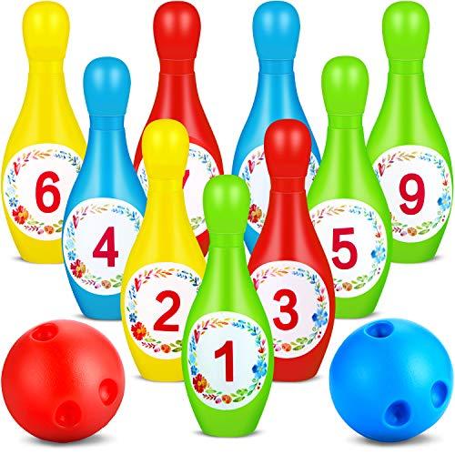 Outus Juego de Bolos de Colores Incluye 10 Piezas de Bolos y 2 Piezas de Bolas de Boliche con Adhesivos de 1 a 10 Números para Juegos al Aire Libre en Interiores Suministros de Juguetes Educativos