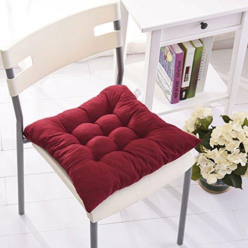 Fu Man Li Trading Company Automne et Hiver Étudiants en couleur solide Coussins de coussin plus épais Coussins coussinés Coussins de bureau (pas de chaises incluses) A+ ( Couleur : Rouge )