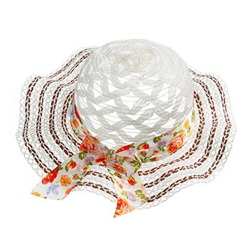 Xiaoqiao Sombrero de paja con protección solar para padres e hijos con ala ancha, gorra de playa de verano