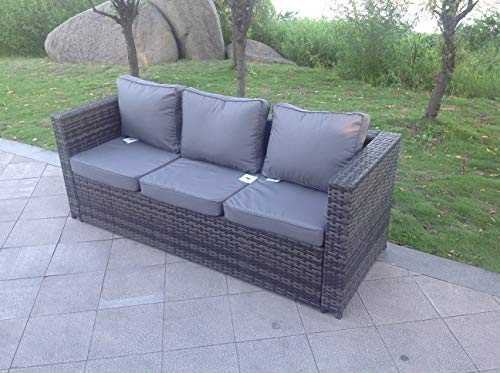 Fimous Rattan 3 Seater Sofa Garden Furniture Outdoor Mixed Grey