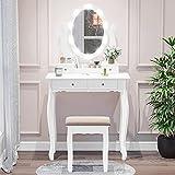 Tiptiper Tocador con 10 bombillas LED, tocador con espejo ovalado y taburete para niñas y mujeres, color blanco
