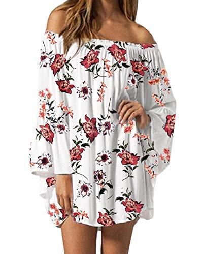 ZANZEA Damen Langarm Schulterfrei Kleid Chiffon Blumen Oversize Oberteil Mini Kleider 06-weiß XXX-Large