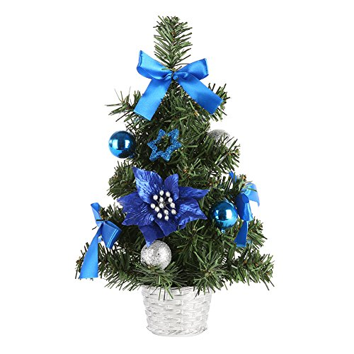 MORESAVE Table de Noël Arbre Salle à Manger Bureau Bureau Petit Arbre de Noël décorations (30cm, Bleu)
