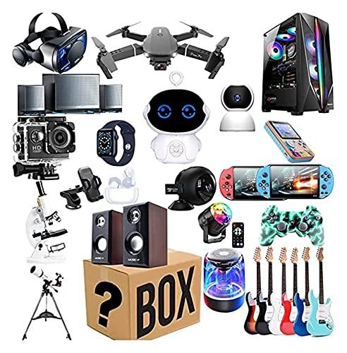 Caja electrónica ciega novedad caja misteriosa electrónica digital, que contiene regalos inesperados, tales como drones, relojes inteligentes, gamepads, cámaras digitales, etc.