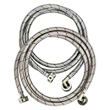 TOMOON Washing Machine Hoses 4 Ft - Braided Stainless Steel Water Supply Line-Burst Proof Universal Fit to All Wash Machines