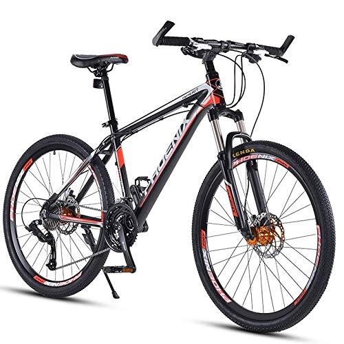 Mountain Bike per Adulti da 27,5' Mountain Bike da Fuoristrada a 30 velocità con Forcella Ammortizzata/Freno a Disco Olio Bicicletta da Montagna, Bici Hardtail in Lega di Alluminio, Rosso