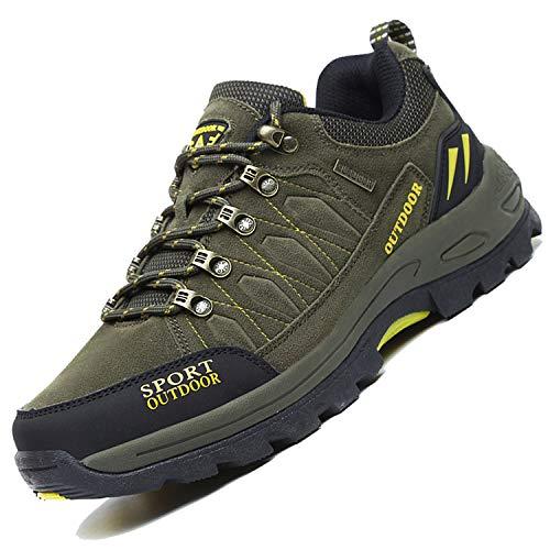 Unitysow Wanderschuhe Trekking Schuhe Herren Damen Sports Outdoor Hiking Sneaker Atmungsaktiv Turnschuhe Walking Wandern Anti-Rutsch Schuhe für Unisex Gr.35-47,Armee-Grün,Gr.41