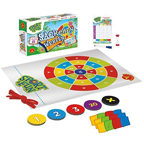 Alexander 2436 - Sport & Fun Säckchenwerfen, Wurfspiel Set mit 12 Mini Sitzsäcke, Beanbag Darts für Drinnen und Draußen, 8 Spielvarianten, Outdoor Spiel für Erwachsene und Kinder ab 3 Jahren
