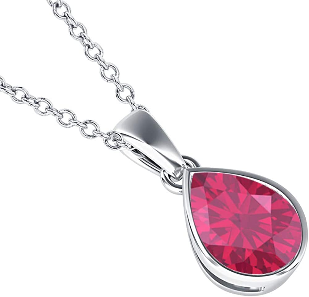 5x7mm to 10x12mm Pear Shaped Ruby Solitaire Bezel Set Pendant Necklace 14k Gold Over .925 Sterling Silver Valentines Days Special for Womens