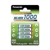 Panasonic High Capacity, Akku Ni-MH 1000, AAA Micro, 4er Pack, min. 930 mAh, Hochkapazitäts-Akku mit extrastarker Leistung