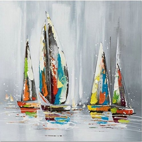 ETA-BL Quadro Barca Voilier, Dimensione 60/60cm, Quadro Quadrato, Pittura ad Olio su Tela di Cotone Montato su Telaio in Legno. Nessun Lavoro di Stampa. Quadro Firmato.