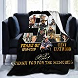 Clint Eastwood Movie 90 Years of 1930-2020 Flannel Fleece Blanket Lightweight Super Soft Warm Cozy Luxury Throw Blanket Home Decor for Couch, Bed, Sofa, Travel (50X40 Inch)