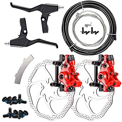 Farbetter Bike Disc Brake Kit, Including Caliper, Brakes Cables, Brake Levers, 160mm Rotor, with Cable End Caps, Mechanic Tool-Free Pad Adjuster for Mountain Bike, Fixed Gear Bike, MTB, BMX (Red)