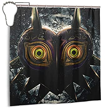 The Legend of Zelda Epic-Majoras-Mask Shower Curtain Set Anime Merchandise for Bathroom Decor Machine Washable Waterproof Fabric Shower Curtains with Hooks 72x72in