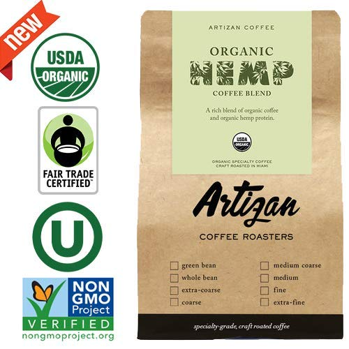 World's First USDA Certified Organic Hemp Coffee - Fair-trade Non-GMO Verified & Kosher - Artizan Coffee Roasters - Medium Roast - 12 oz (Medium Grind)