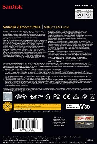 SanDiskサンディスクExtremeProSDXC512GBカードUHS-I超高速U3V30Class104K対応[並行輸入品]