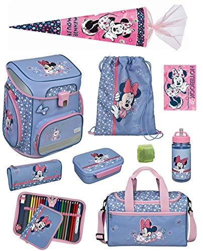 Mädchen Schulranzen-Set 10 TLG.Scooli Easy Fit Ranzen 1. Klasse Disney Minnie Mouse MITW8255 Schultaschen Komplett-Set