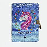 """EsOfficce Sequin Notebook ,Unicorn Notebook with Lock, DIY Personal Diary with Lock and Key, Reversible Travel Journal Notebook Gift for Kids, A5 8.5"""" x 5.5"""", 156 Pages,Blue"""