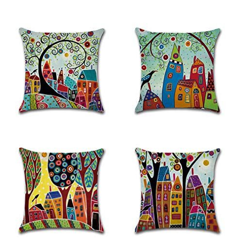 vigvog Decorative Tree Printed Cushion Covers 45x45 cm,Set of 4,Colorful Pattern Throw Pillow Covers for Bench Sofa Bedroom Living Room Decoration (Tree-0)