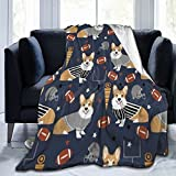 Corgi Football Sports - Manta cálida para dormitorio, salón, sofá, 150 x 100 cm
