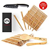 AYA Kit di Sushi bambù Kit con Coltello Sushi Chef - Video Tutorial Online - 2 Tappetini per Arrotolare Sushi – Cucchiaio & Spatola - 5 Paia di Bacchette - 100% Naturali qualità Premium.
