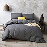 ATsense Duvet Cover King, 100% Washed Cotton, Bedding Comforter Cover Set, 3-Piece, Ultra Soft and Easy Care, Simple Style Farmhouse Bedding Set (Dark Grey 7003-4)