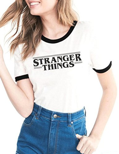 DOKER - Camiseta de Manga Corta para Mujer con Cuello Redondo