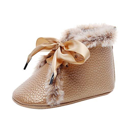 WEXCV Baby Mädchen Bowknot Einfarbig Schuhe Glänzend PU Sohle Prewalker Schuhe Stiefel Infant Kleinkind Mode Booties Verdicken Plüsch Herbst Winter rutschfest Lauflernschuhe 0-24 Monate
