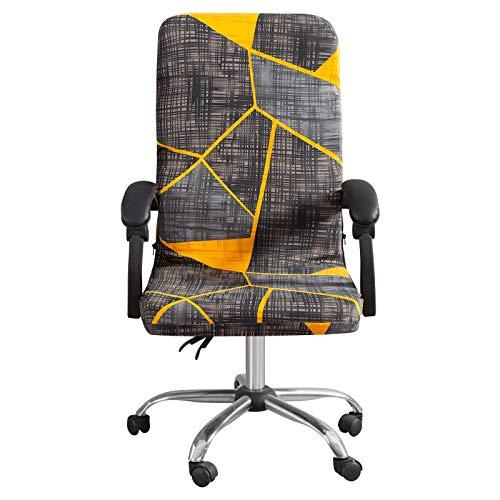 HIFUAR Funda para silla de oficina elástica para sillas de ordenador, antideslizante, lavable, con estampado geométrico, para silla giratoria para estudio, oficina (amarillo/negro, mediano)