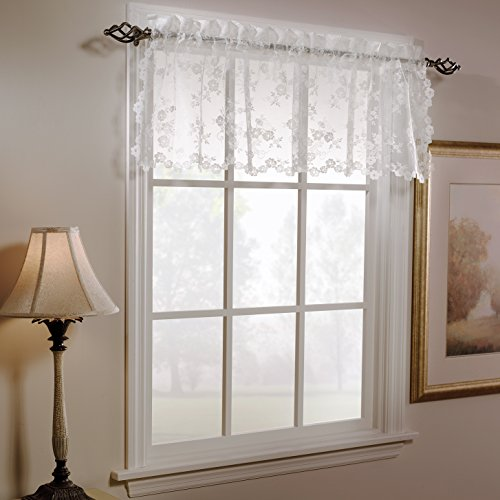 SKL HOME by Saturday Knight Ltd. Petite Fleur Valance, White, 52-Inches x 14 Inches