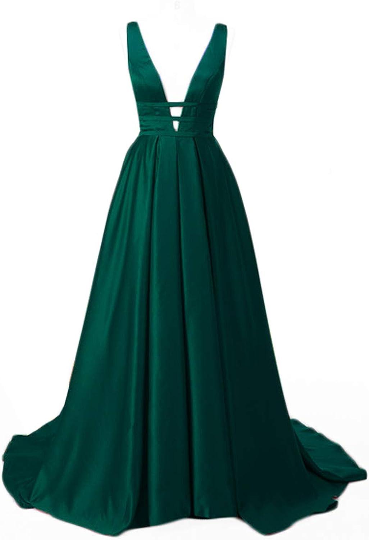 Manalia Women's Sexy Satin Evening Dress Long Prom Maxi Dress Gown Plus Size