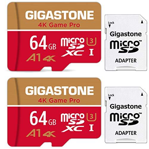 Gigastone Carte Mémoire 64 Go Lot de 2 Cartes, 4K Game Pro Série, Spécialement pour Switch 4K UHD vidéo GoPro, Vitesse de Lecture allant jusqu'à 95 Mo/s. A1 U3 Carte Micro SDXC avec Adaptateur SD.