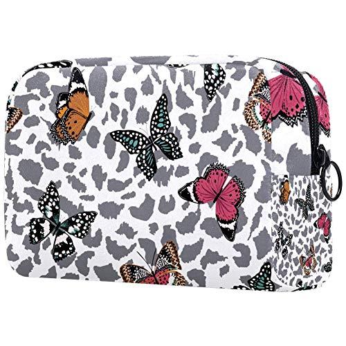 Trendy vlinders vliegen op dier luipaard skinSmall make-up tas voor portemonnee reizen make-up zak mini cosmetische tas voor vrouwen