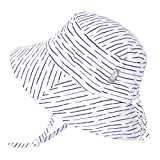 Jan & Jul Newborn Infant Baby Girl Boy Cotton Bucket Sun Hat 50 UPF Protection, Adjustable Good Fit, Stay-on Tie (S: 0-6m, White Waves)