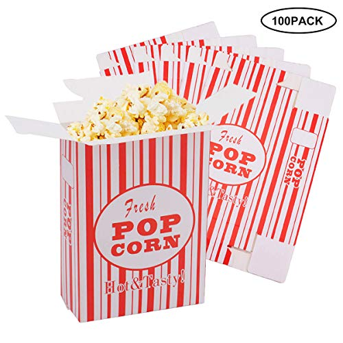 Bekith 100 Pack Paper Popcorn Boxes, Close-Top Popcorn Containers Cups Bucket for Movie Party and Theater Night