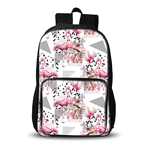 3D Mochila para niños 3D Flamingo Estilos Populares Mochila Escuela Portátil Daypack Adecuado para escolares Muchachos y niñas Bolso escolar Luz al aire libre Luz elegante Bolsa de senderismo Portátil